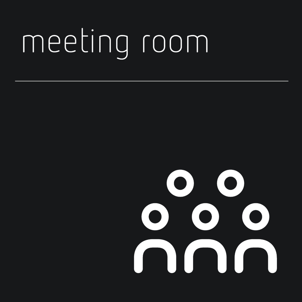 Matt Black Range Icon Signs - Meeting Room