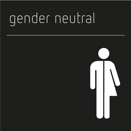 Gender Neutral Toilet Sign, Shadow White