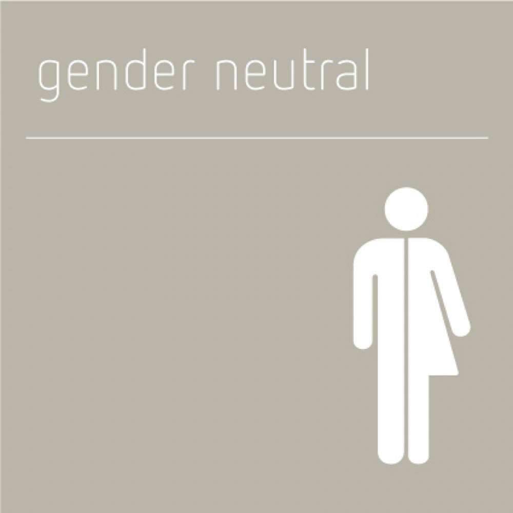 Gender Neutral Toilet Sign, Grey