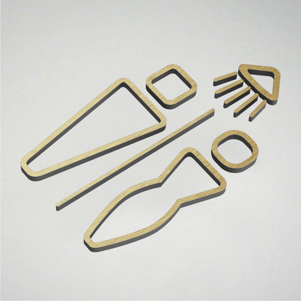 Deco Male & Female Shower Icon - Gold