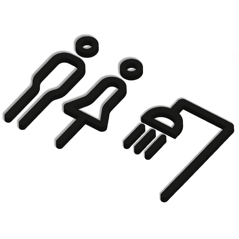 Matt Icon Range - Sign - Male and Female Shower