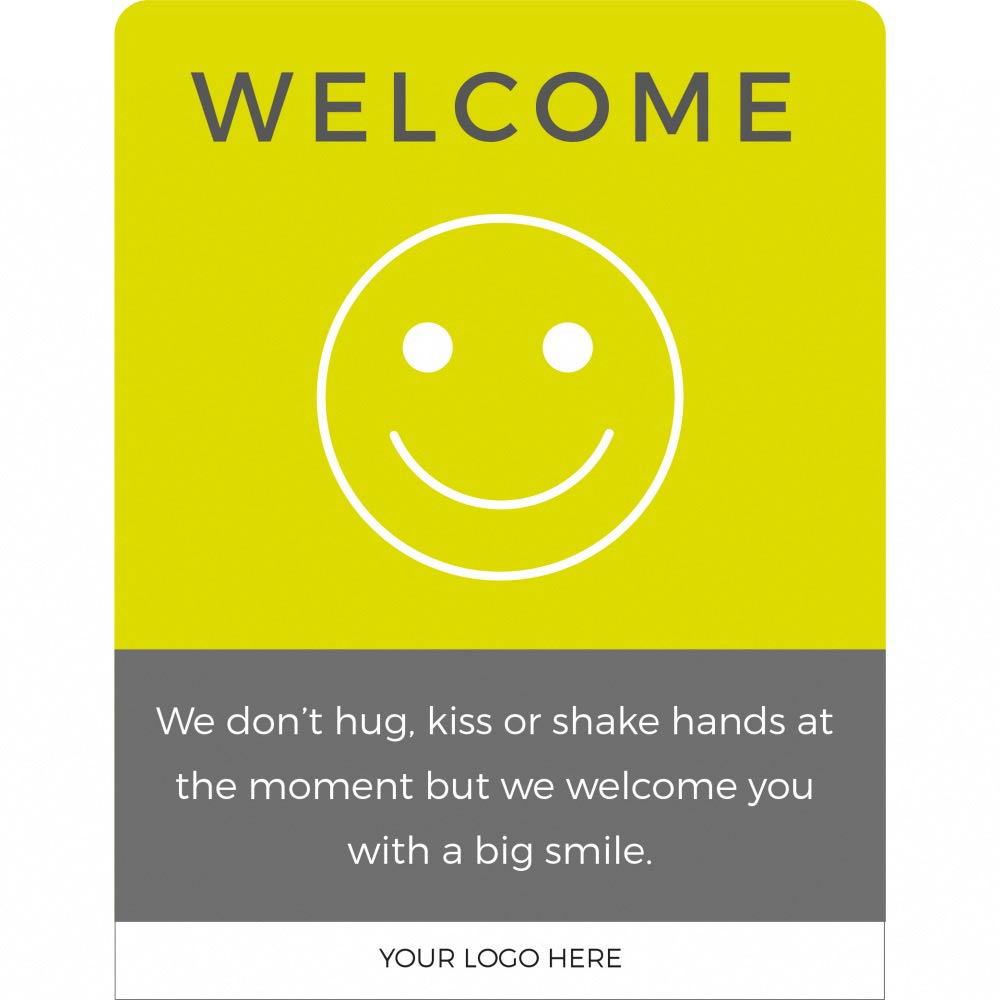Design 1 Welcome back social distancing sign acrylic information