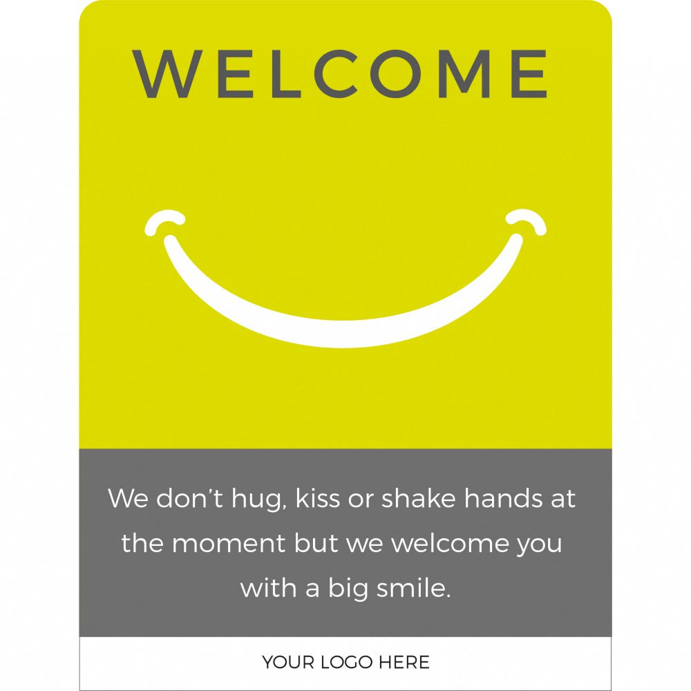 Design 2 Welcome back social distancing sign acrylic information