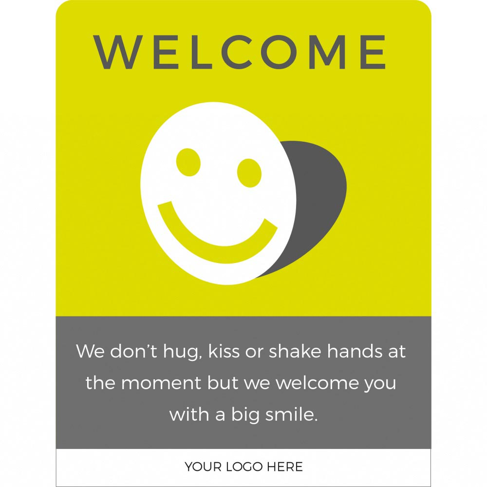 Design 3 Welcome back social distancing sign acrylic information