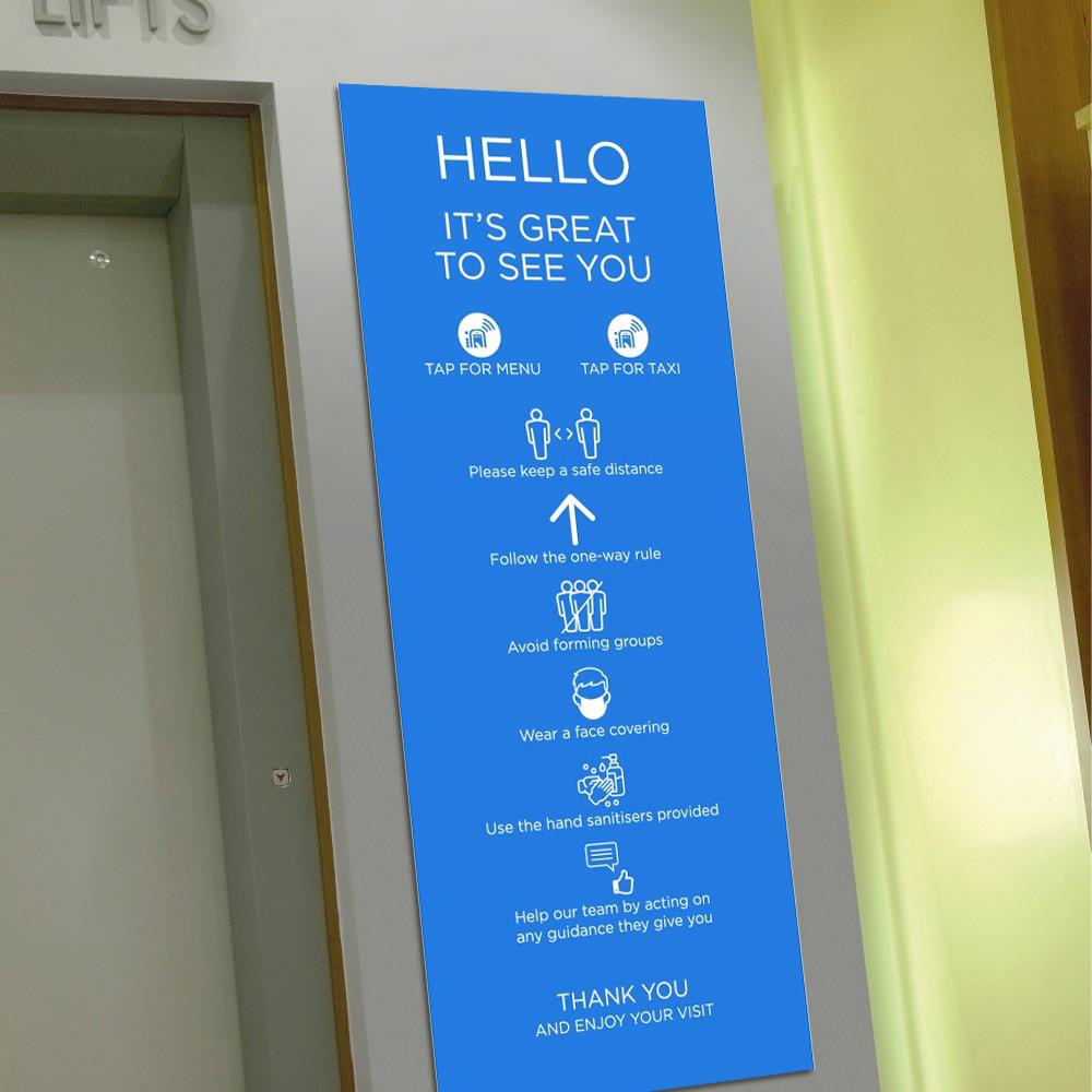 Venue Information Sign - Social Distancing - Blue