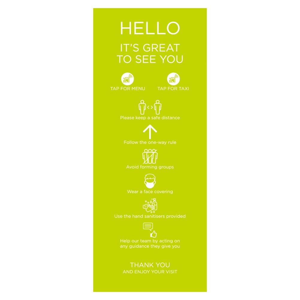 Venue Information Sign - Social Distancing - Lime Green