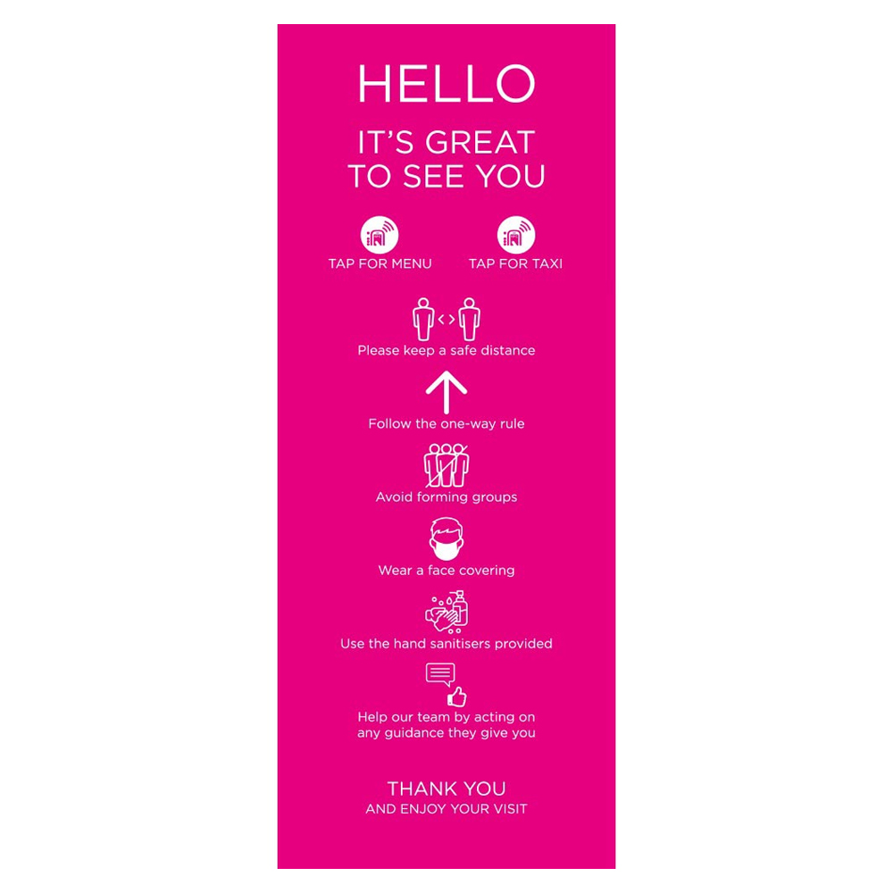 Venue Information Sign - Social Distancing - Pink