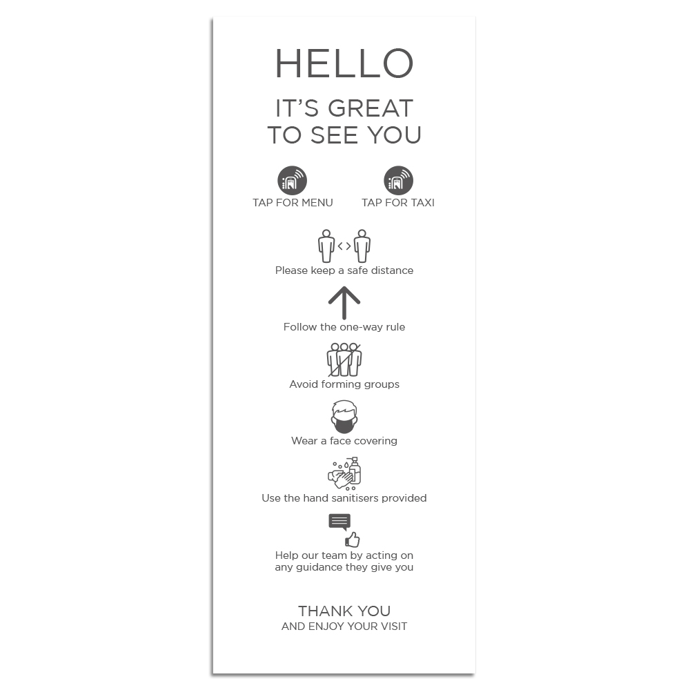 Venue Information Sign - Social Distancing - White