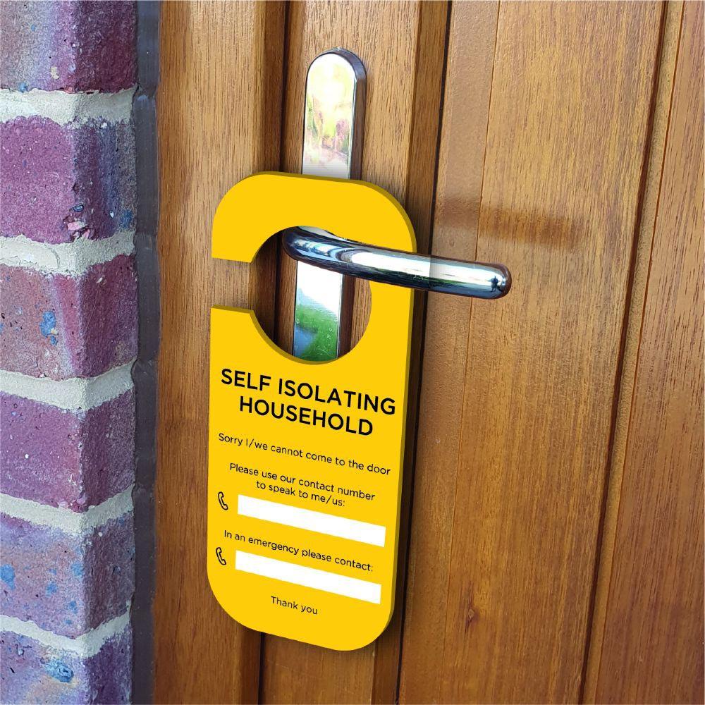 Yellow self isolating door hanger sign