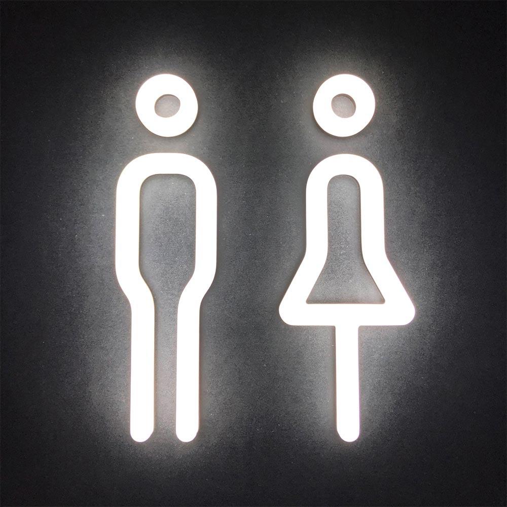 LED soft illuminated acrylic male and female pictograms