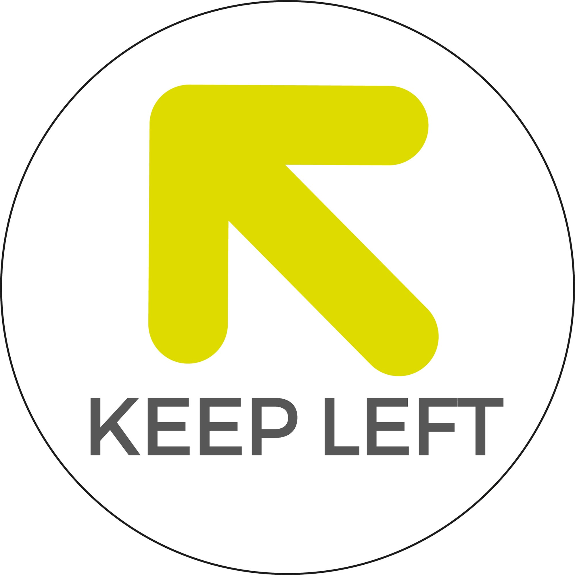 Keep Left - White Sticker