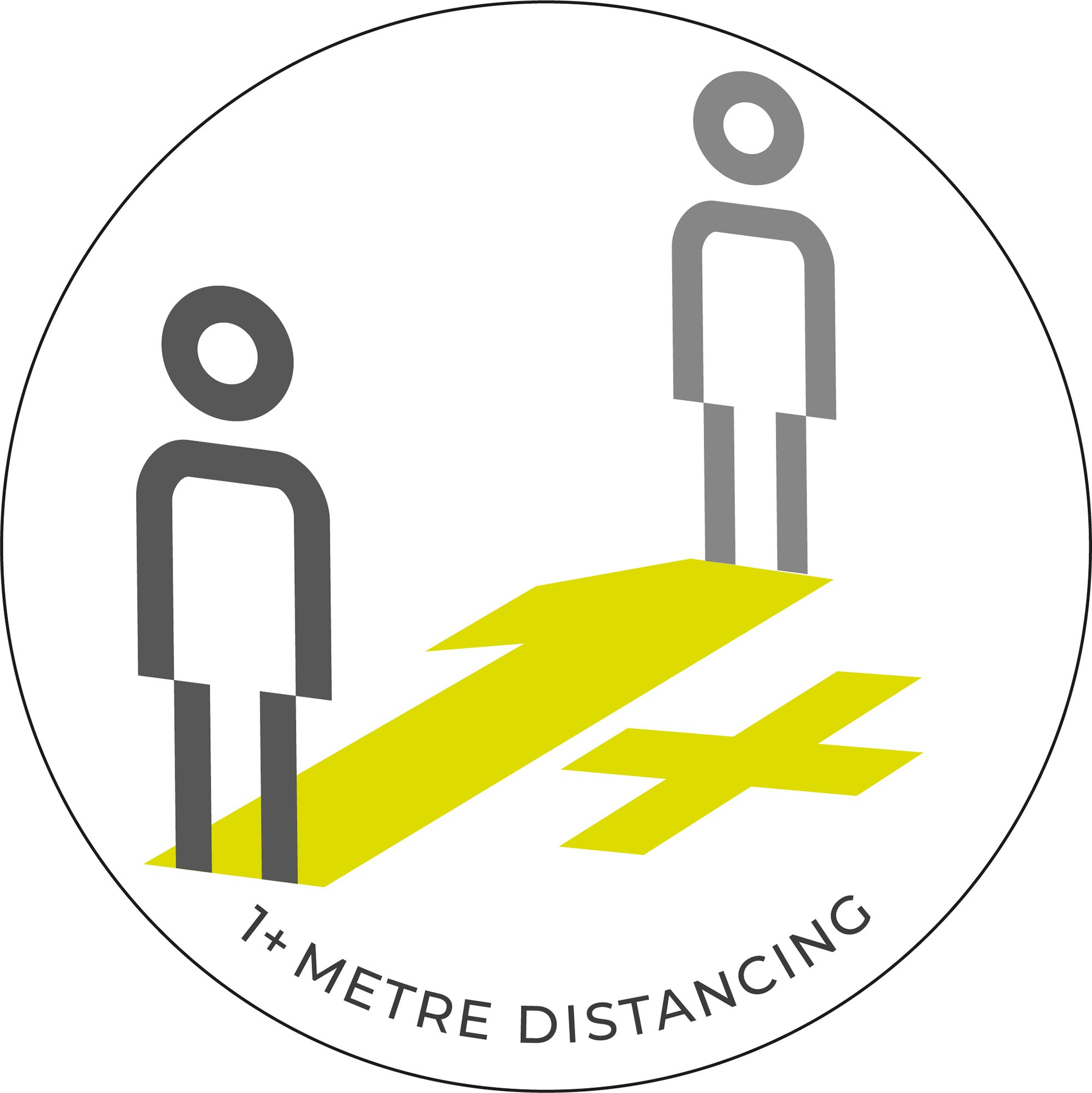 1 Metre Distancing  - White Sticker