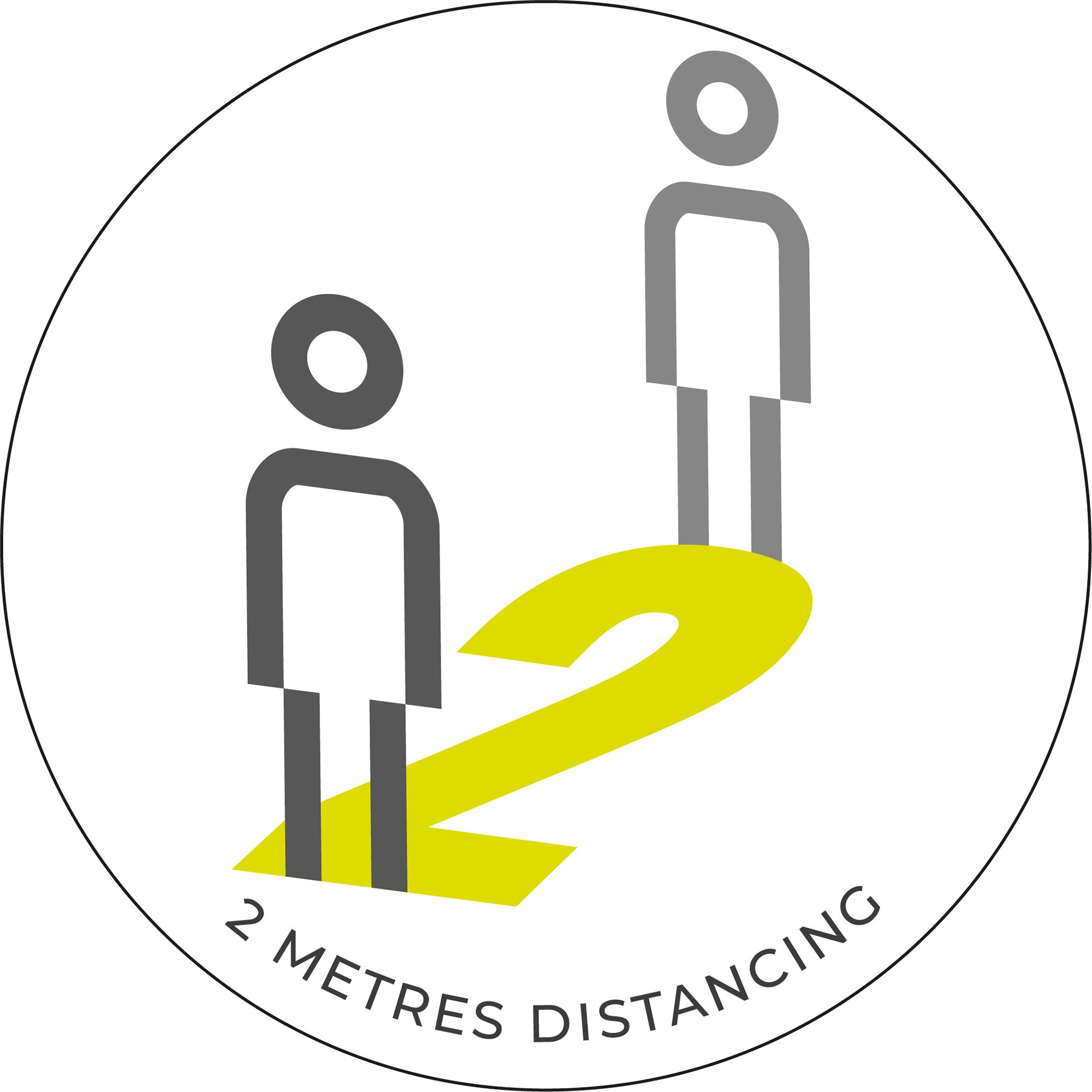 2 Metre Distancing - White Sticker