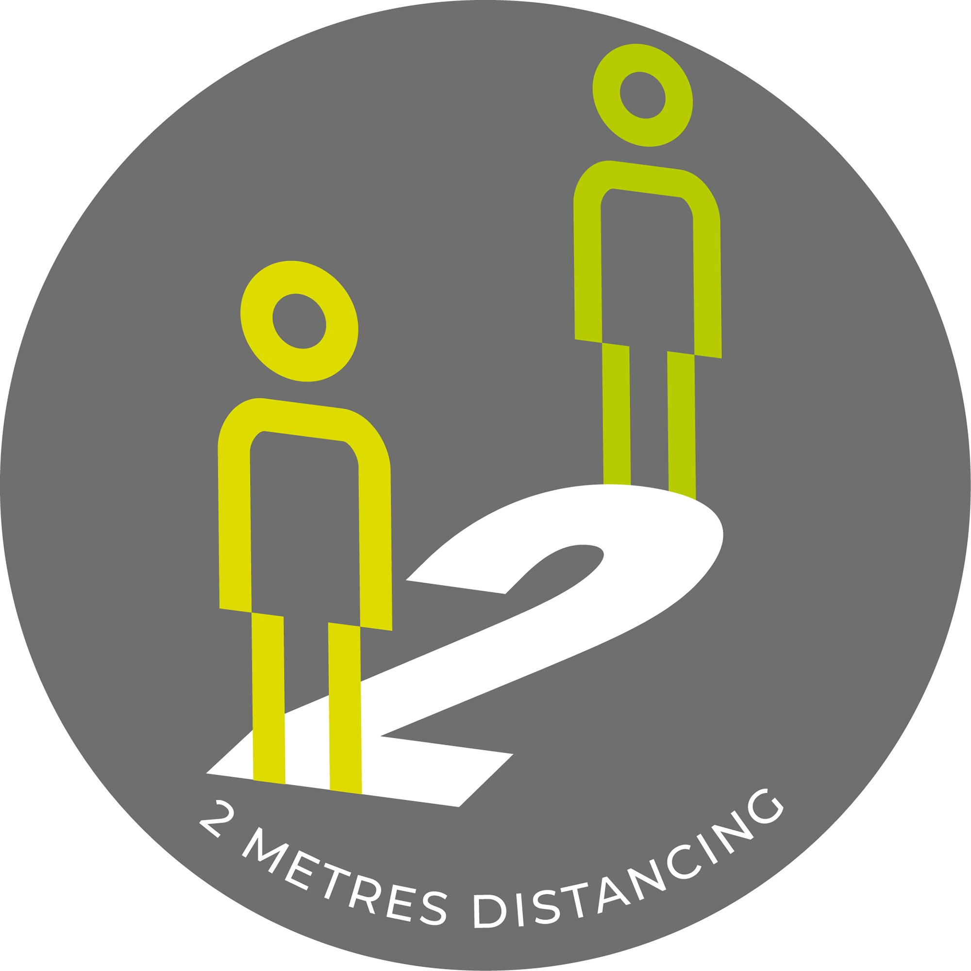 2 Metre Distancing  - Grey Sticker
