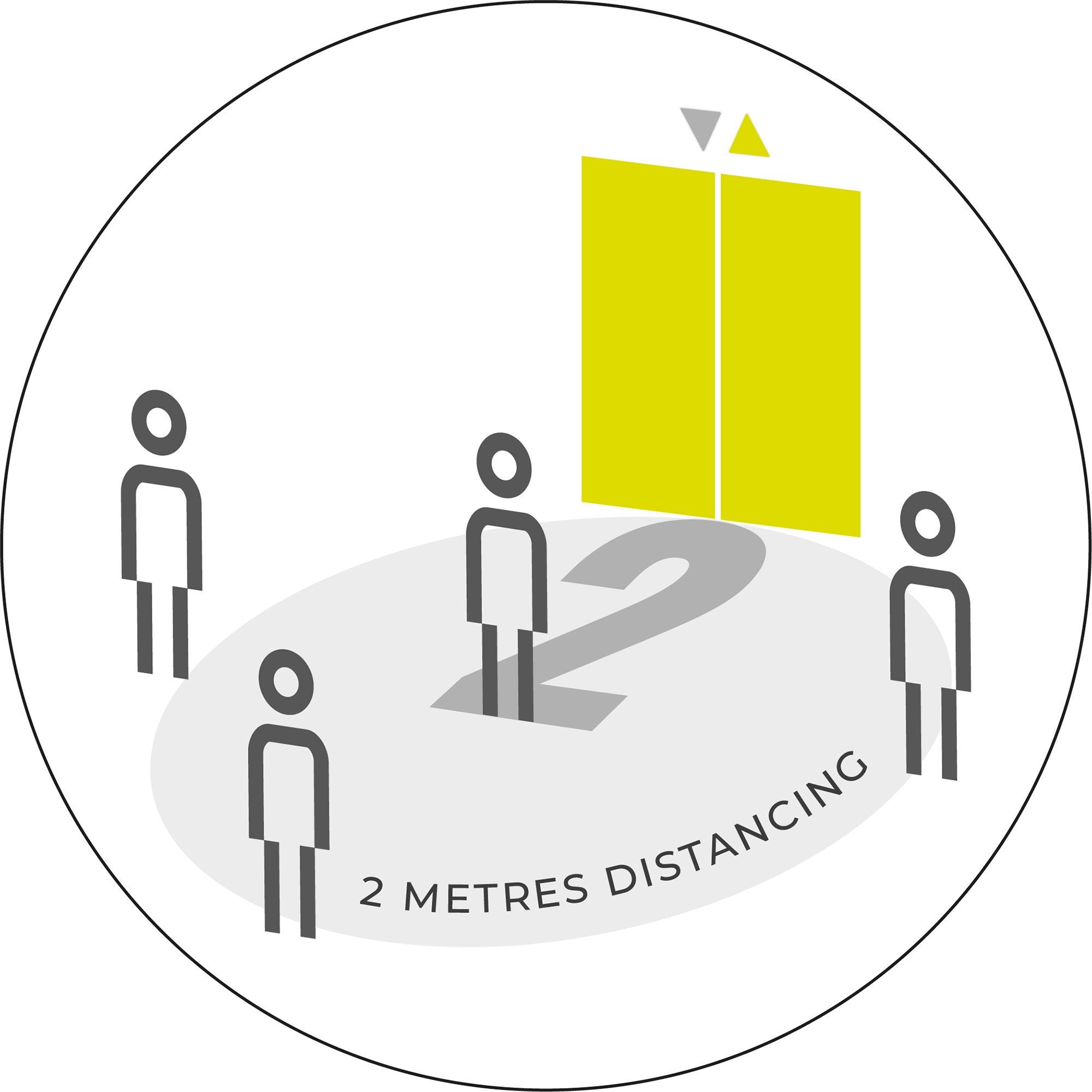 Lifts 2 Metre Distancing - White