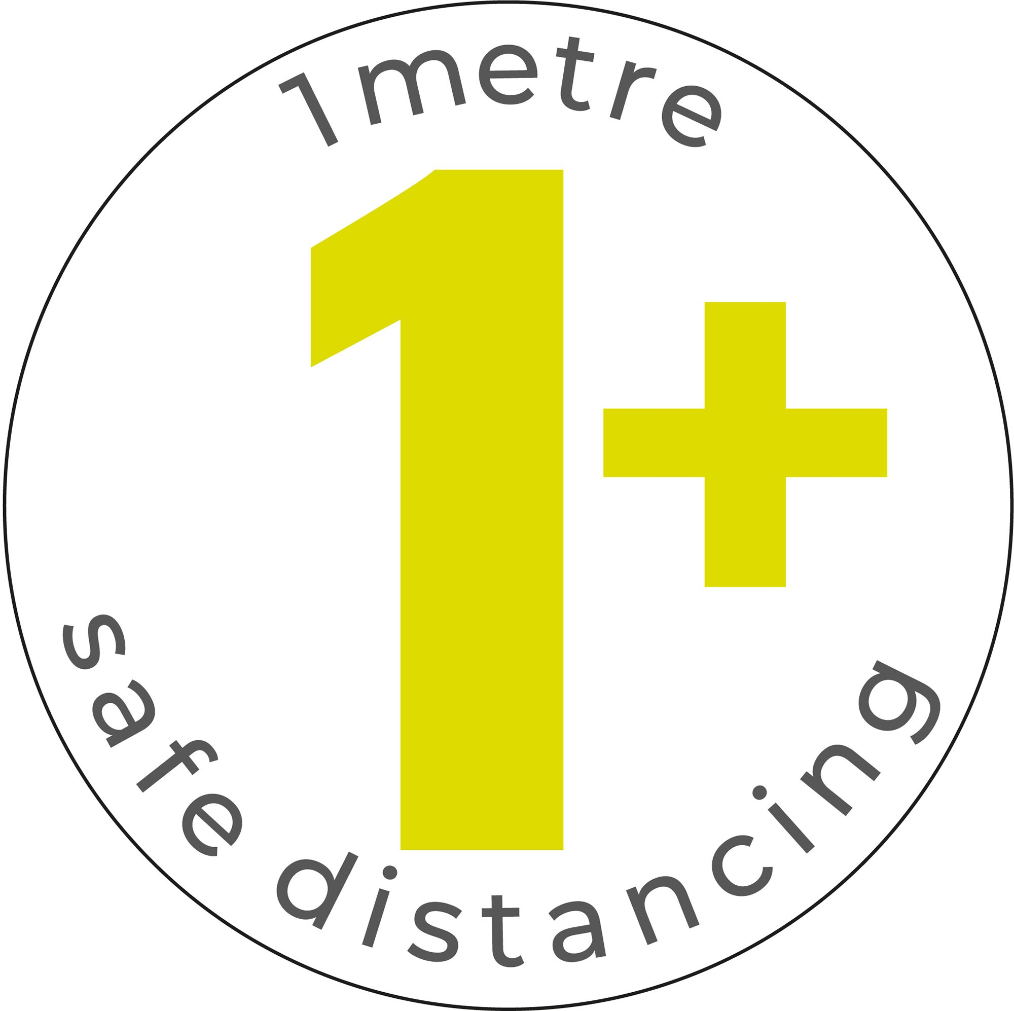 1m Safe Distancing - White Sticker