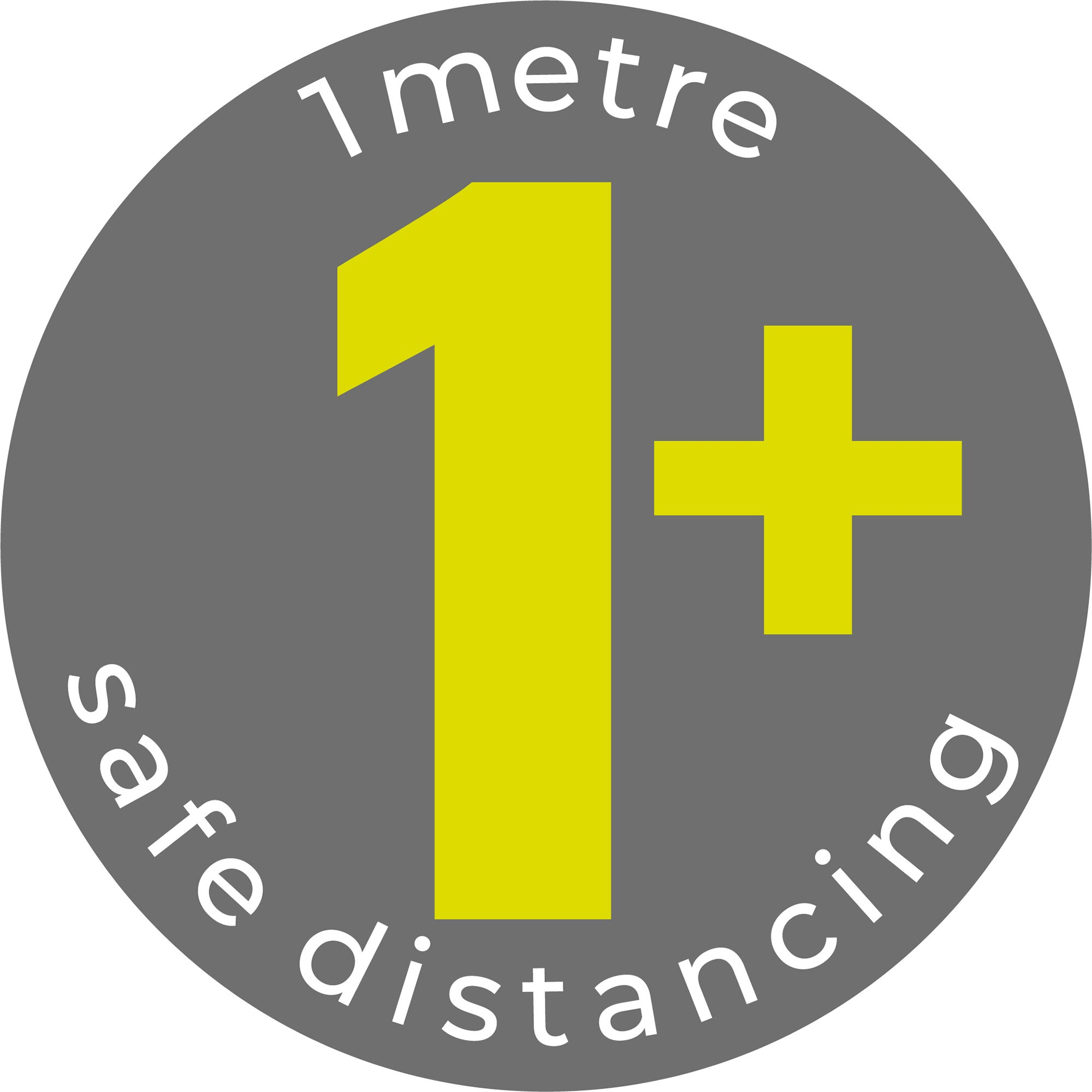 1m Safe Distancing - Grey Sticker