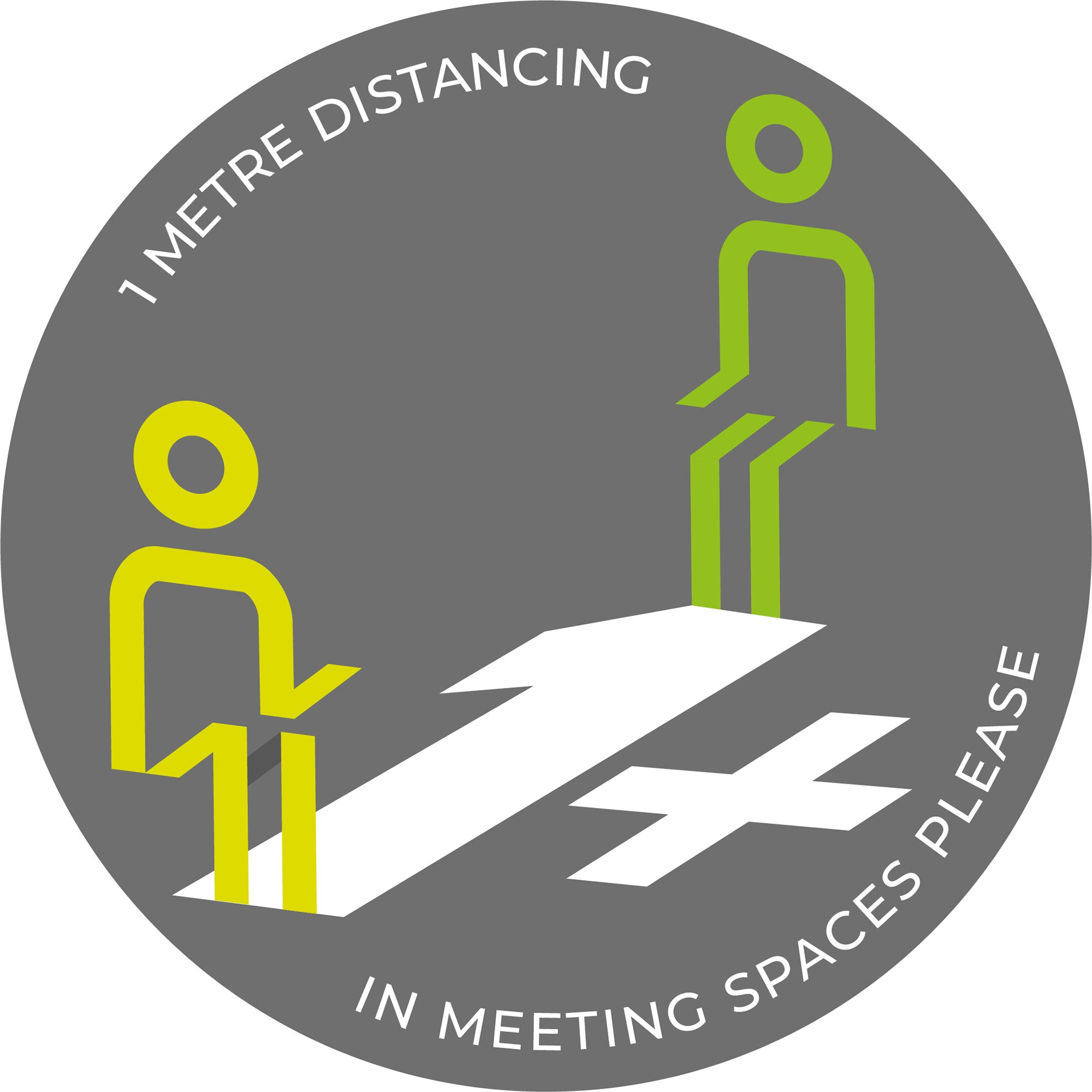 1m Meeting Spaces Distancing - Grey sticker