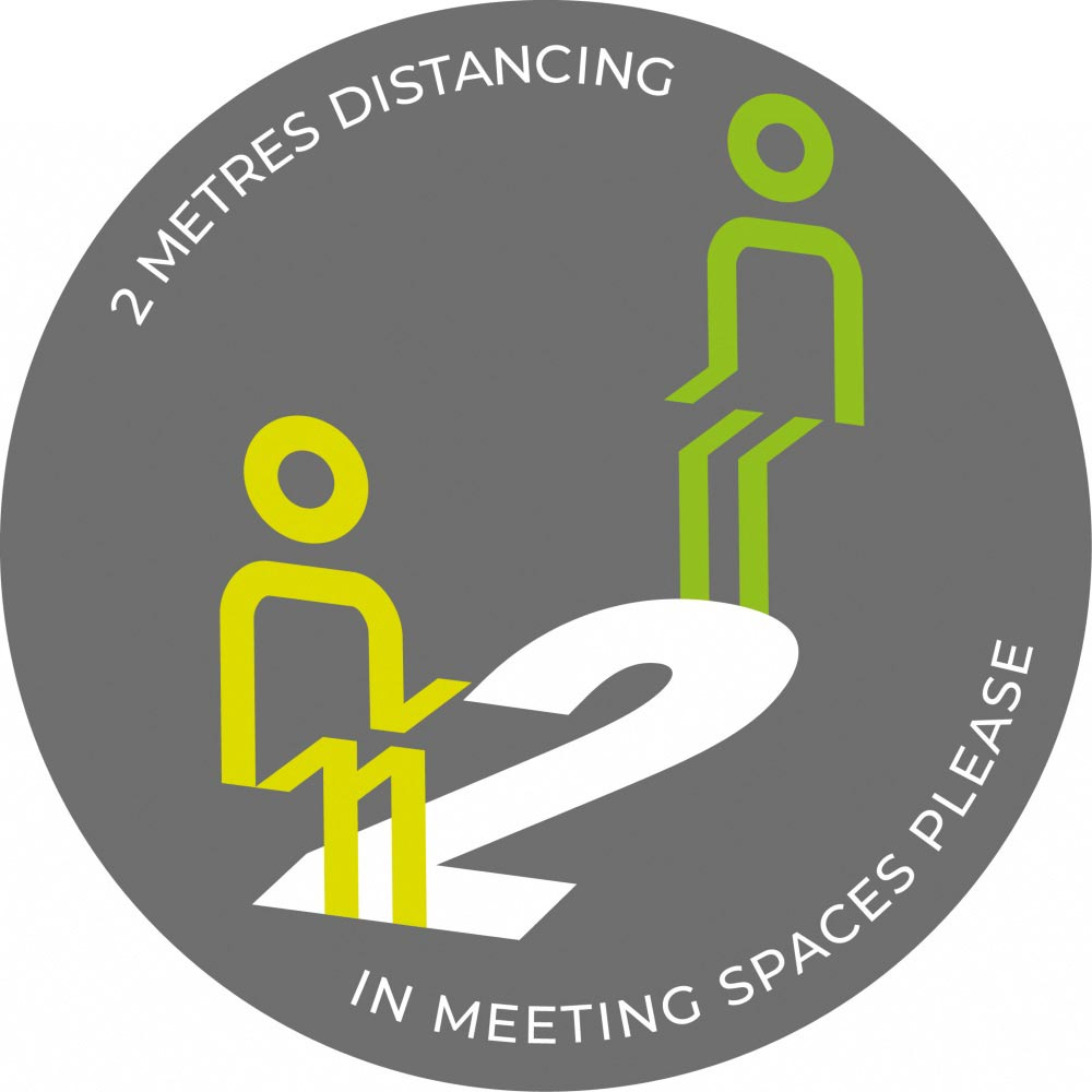 Meeting Spaces Distancing - Grey sticker