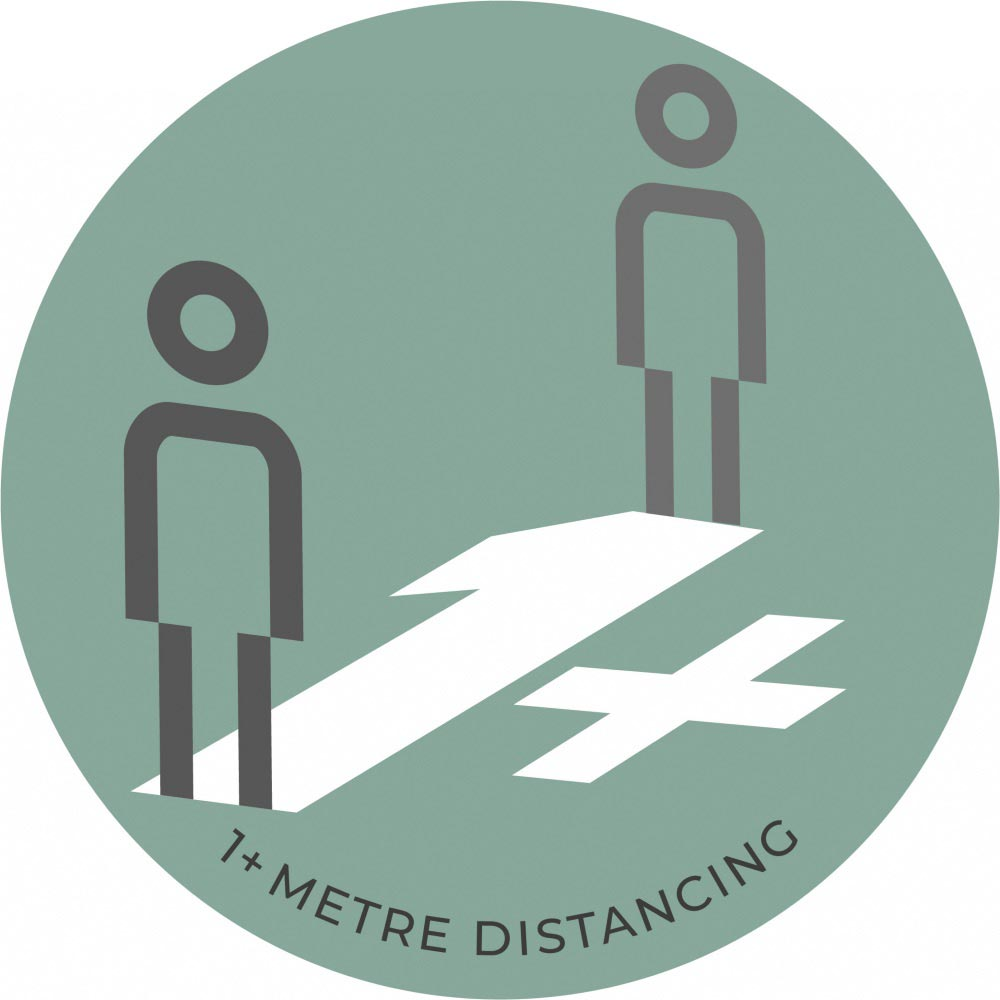 1 Metre Distancing - Teal Sticker