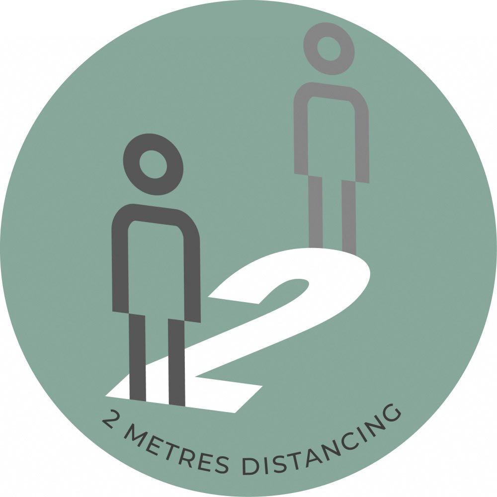 2 Metre Distancing  - Teal Sticker