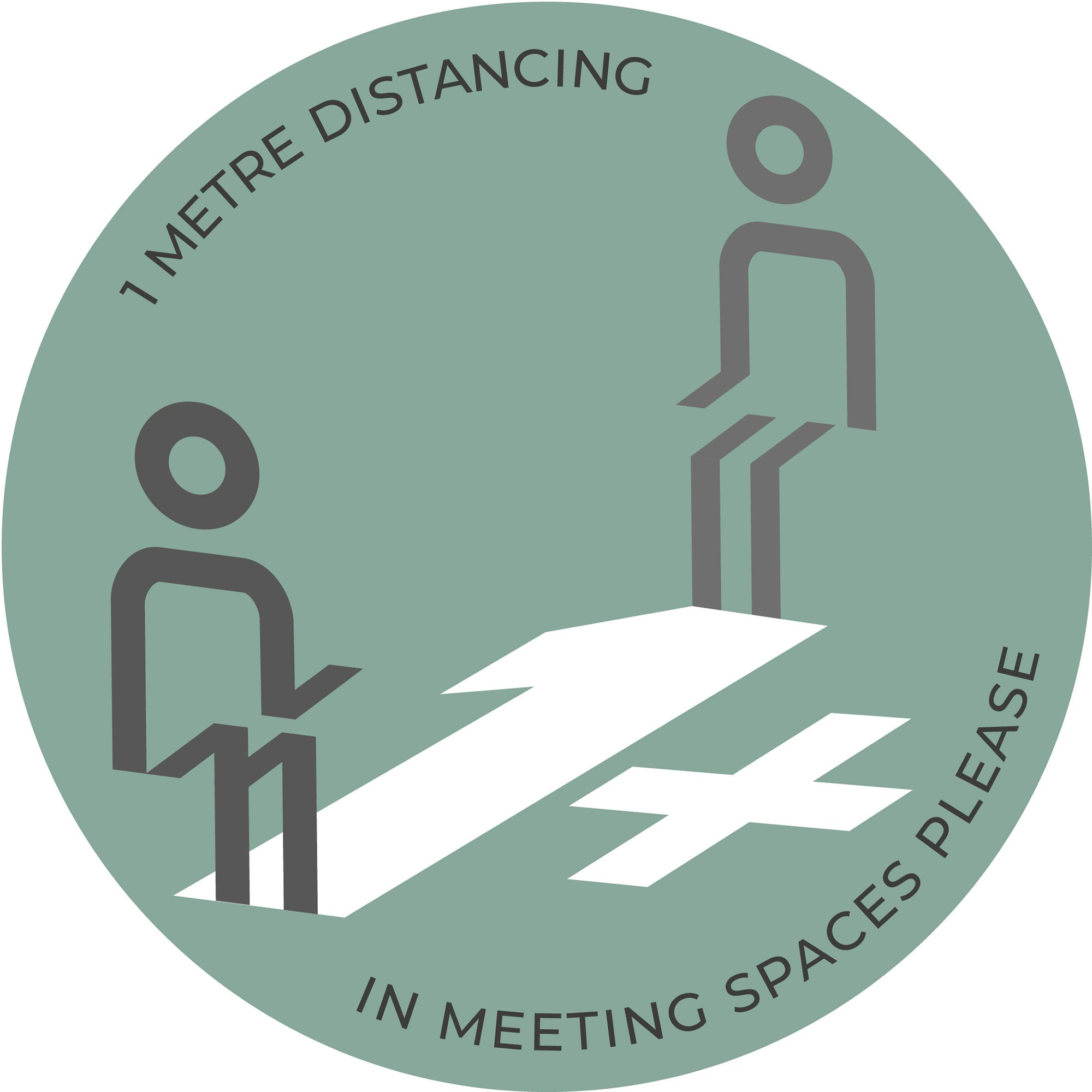 1m Meeting Spaces Distancing - Teal sticker