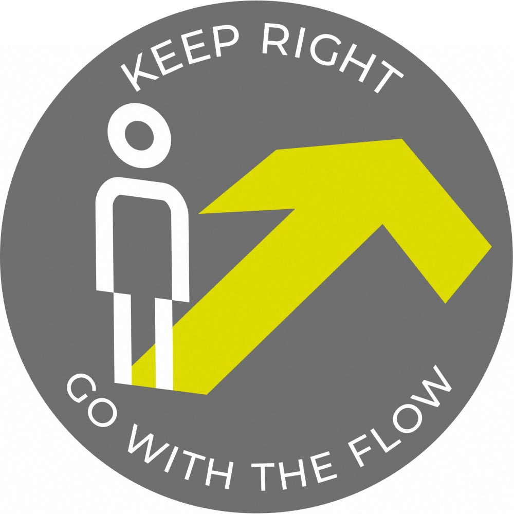 Go with the flow Right- Grey Sticker
