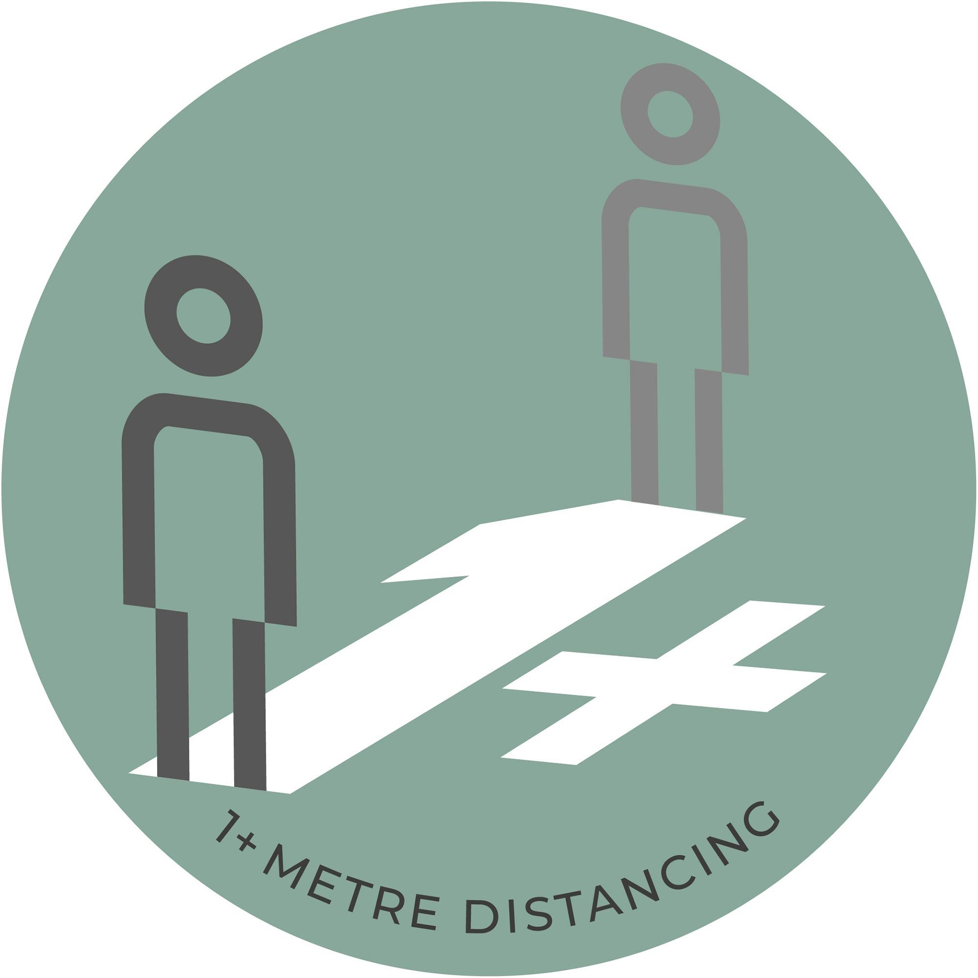 1 Metre Distancing - Teal Sticker