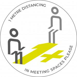 1m Meeting Spaces Distancing - White sticker