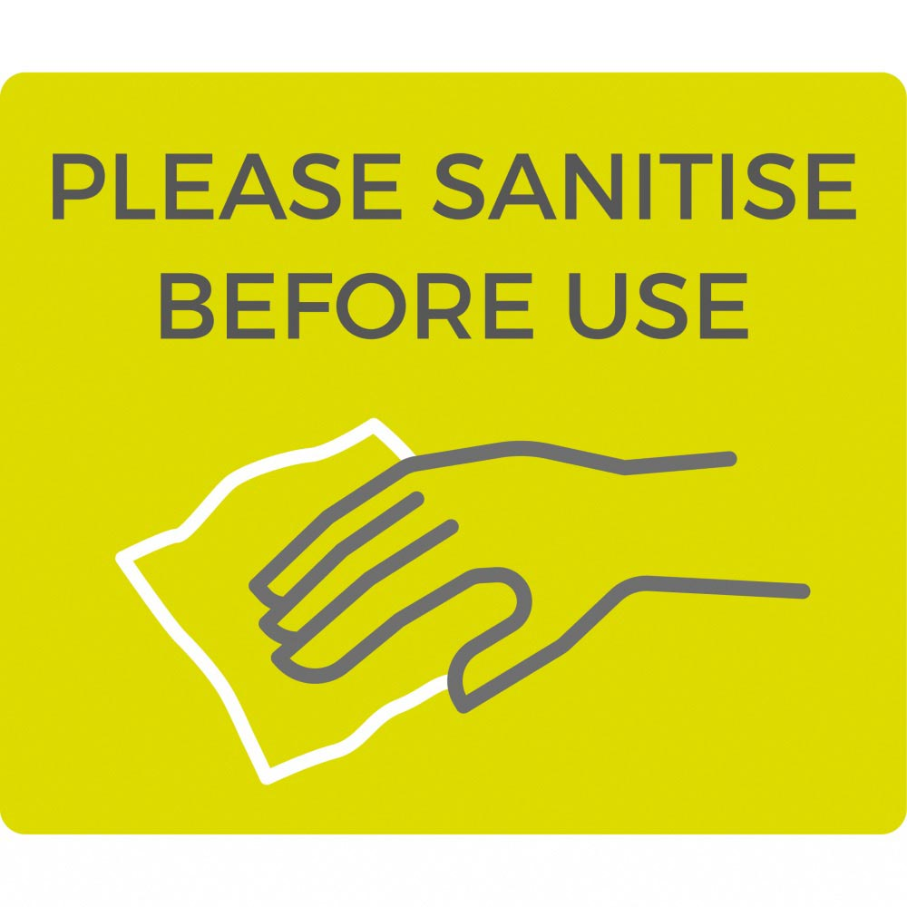 Information sign Please sanitise before use - Lime Green