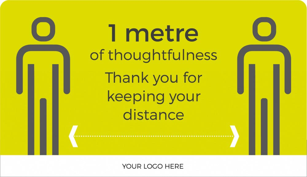 Keep it to 1m+ distance sign - Lime Green