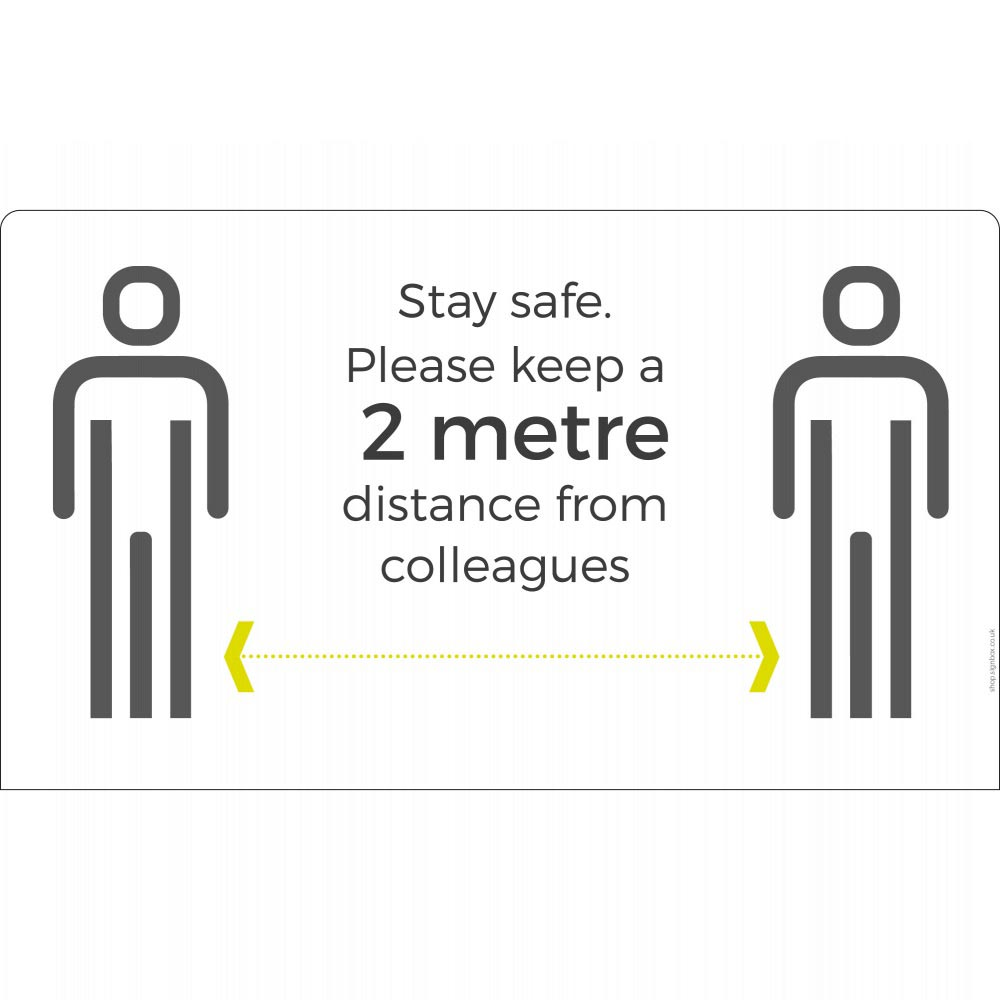 Keep it to 2m+ distance sign - White