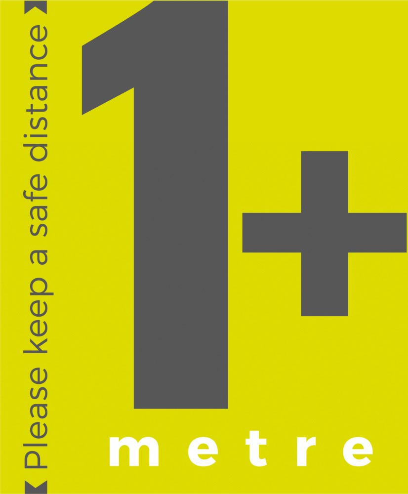 1+ metre sign social distance - Lime Green