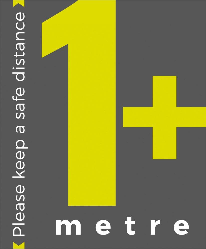 1+ metre sign social distance