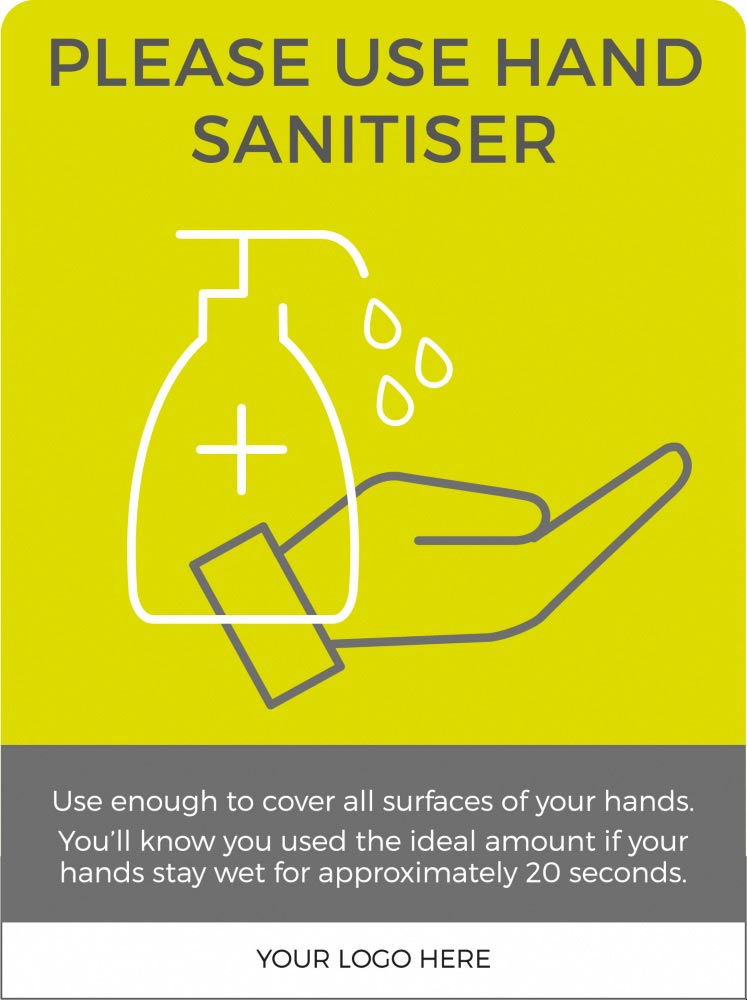 Hand Sanitiser social distancing sign - Lime Green