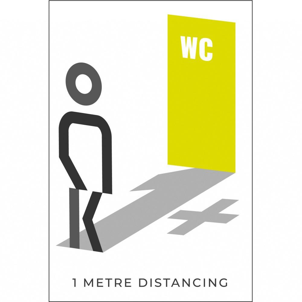 Information sign 1 metres washroom - White