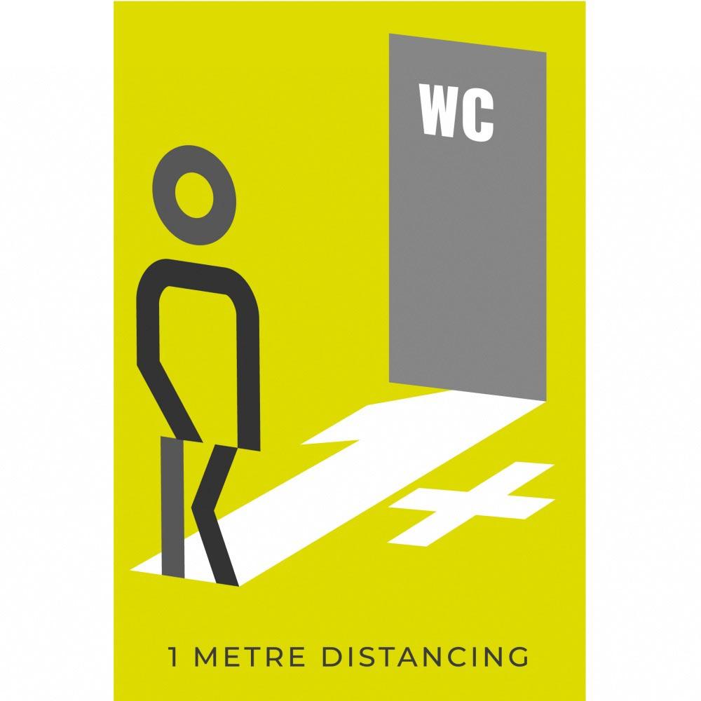 Information sign 1 metres washroom - Lime Green