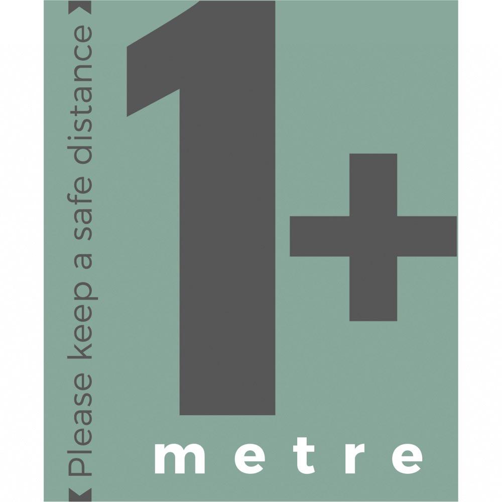 1+ metre sign social distance - Teal