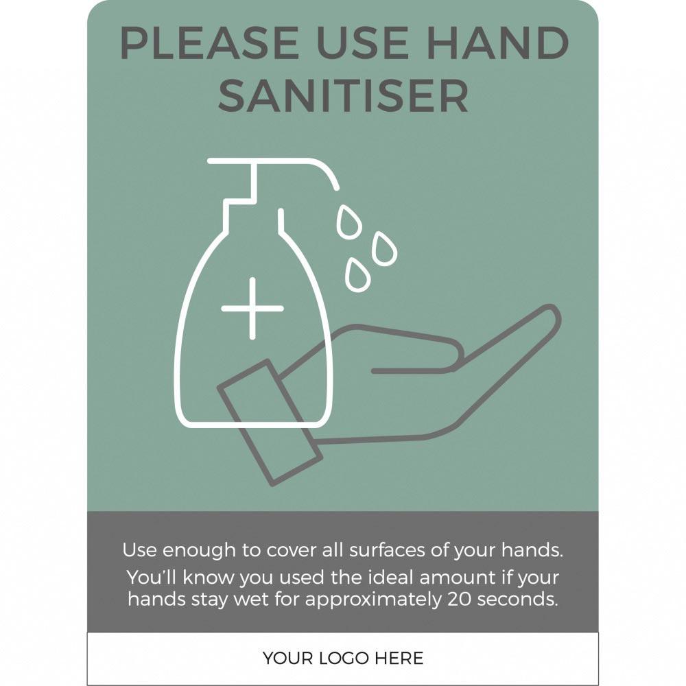 Hand Sanitiser social distancing sign - Teal