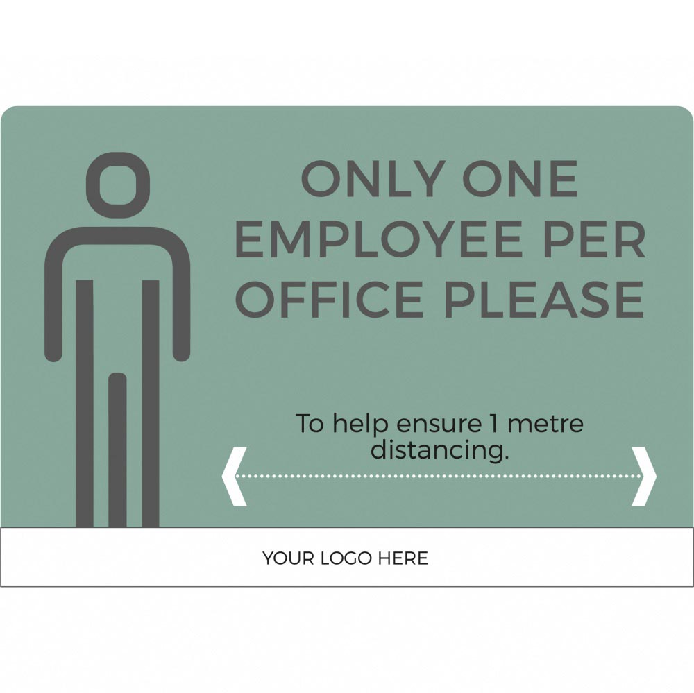 1 employee per office social distancing sign - Teal