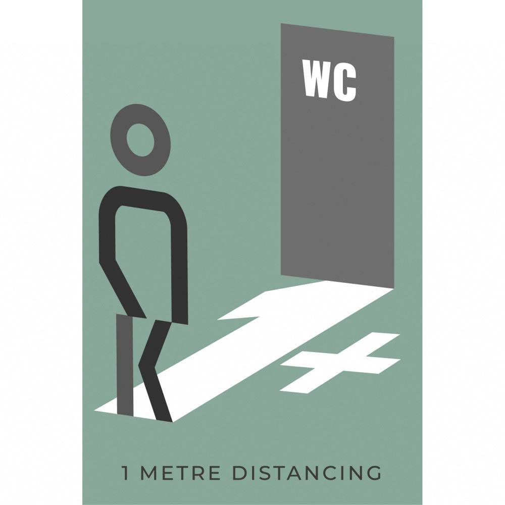 Information sign 1 metres washroom - Teal