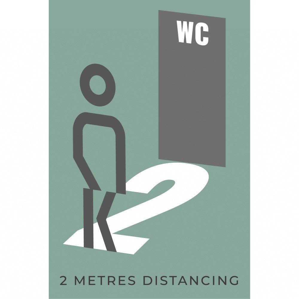 Information sign 2 metres washroom - Teal