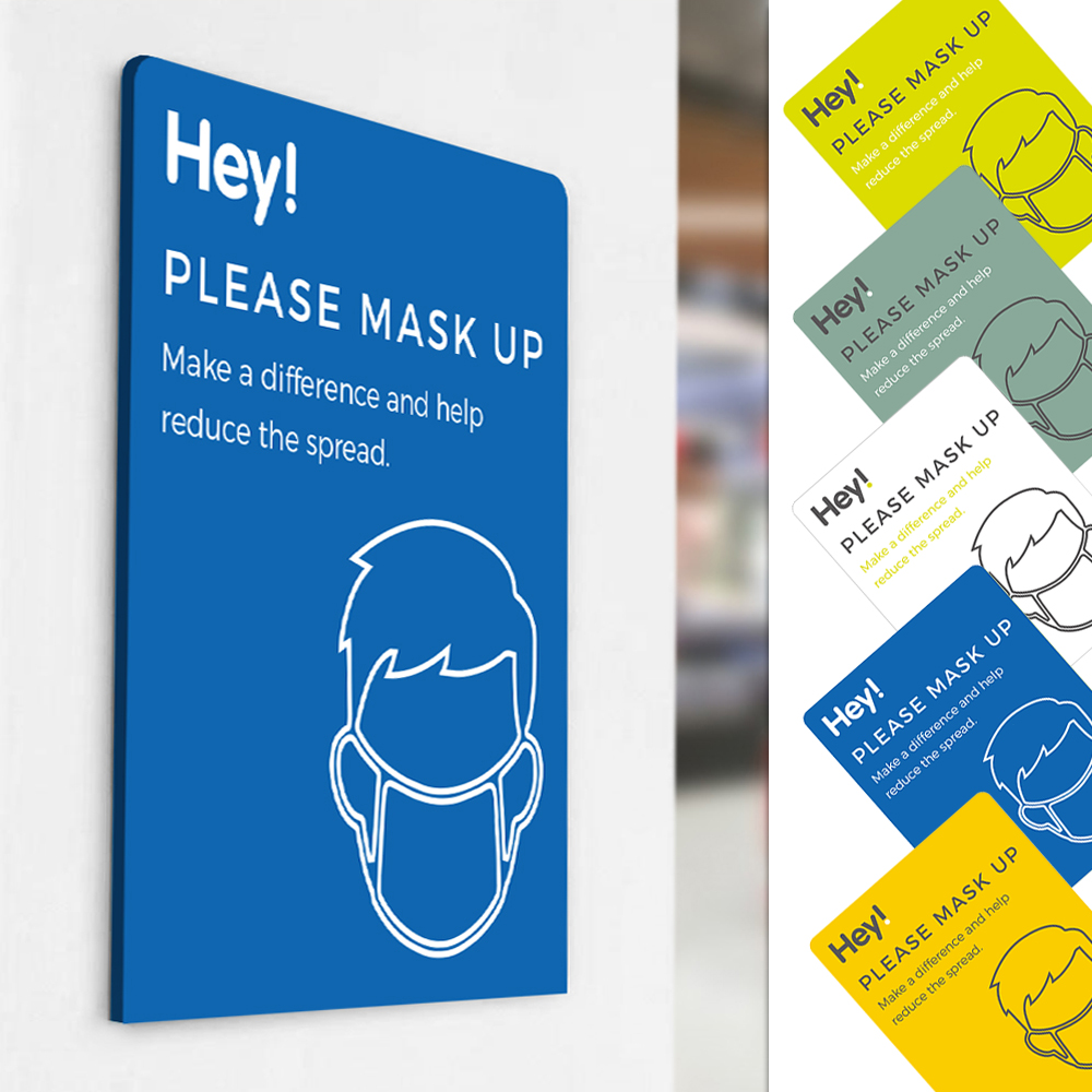 Please Mask Up Sign - Social Distancing - Blue