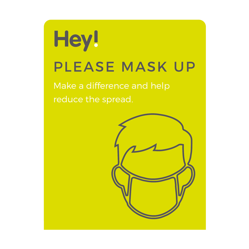Please Mask Up Sign - Social Distancing - Lime Green