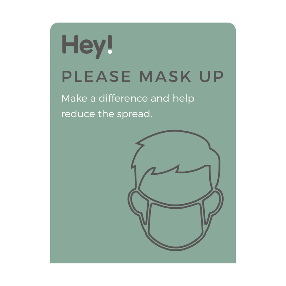 Please Mask Up Sign - Social Distancing - Teal