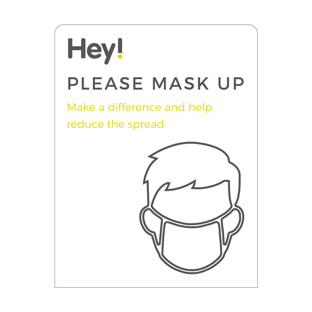 Please Mask Up Sign - Social Distancing - White