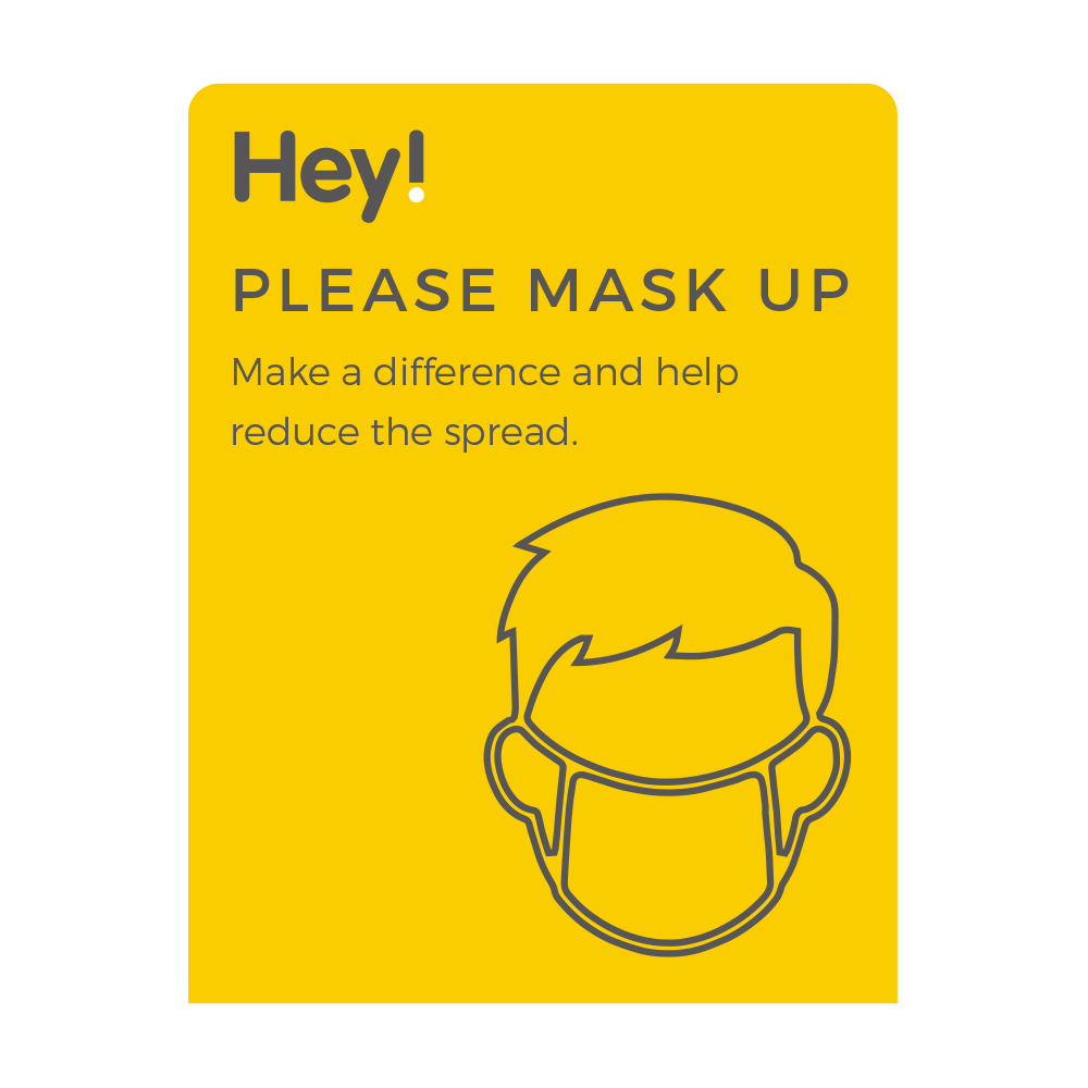 Please Mask Up Sign - Social Distancing - Yellow